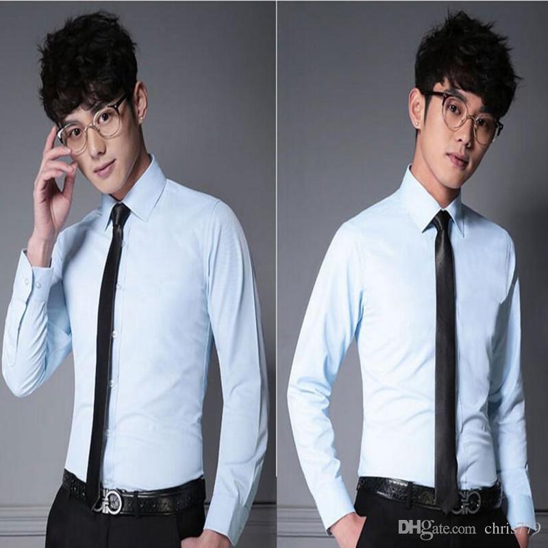 High quality groom wedding shirt slim fit men shirt tailor made solid color formal occasions shirt prom dress shirt long sleeve shirt