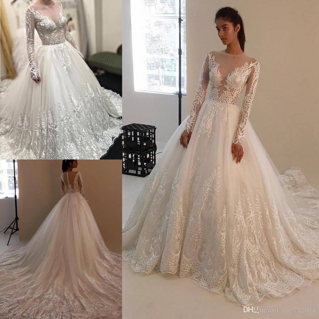 3e4f7a9d47a7 Discount Zuhair Murad Lace Ball Gown Wedding Dresses With Long Sleeve 2019  Sexy Sheer Crew Neck Elegant Applique Bridal Gowns Court Train Zipper Back  ...