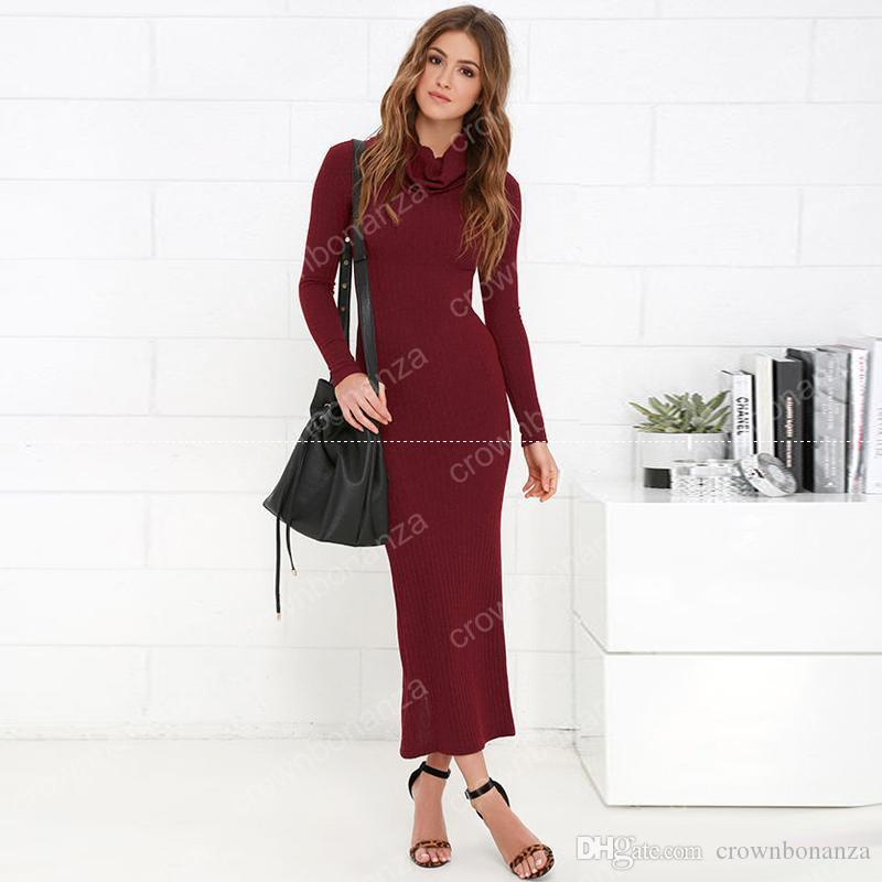 Ladies Burgundy Long Knit Dress Long Sleeve Turtle Neck Split Winter