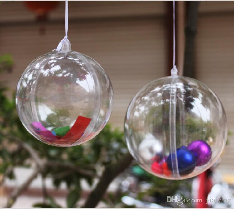 Clear Plastic Round Ball Wedding Candy Box Xmas Tree Ornament Decorations Gift Hang Ball Supplies 6 Sizes to choose free shipping