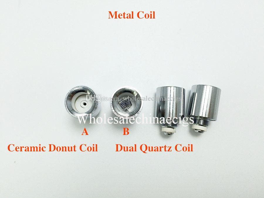 Update Dual quartz wax coils for cannon vaporizer atomizer double coil Ceramic Donut Core Glass Globe metal vase Skull Bowling cartomizer