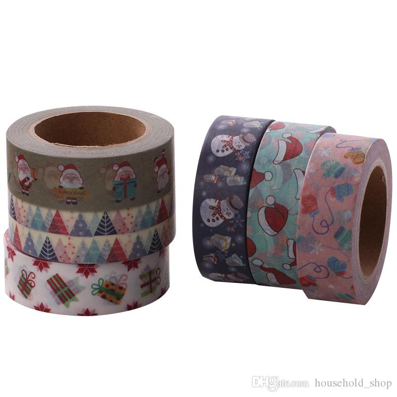 Christmas Wrap Tape Adhesive Gift Wrapping Lashing Band DIY Decorative paste Santa Claus Japan and paper