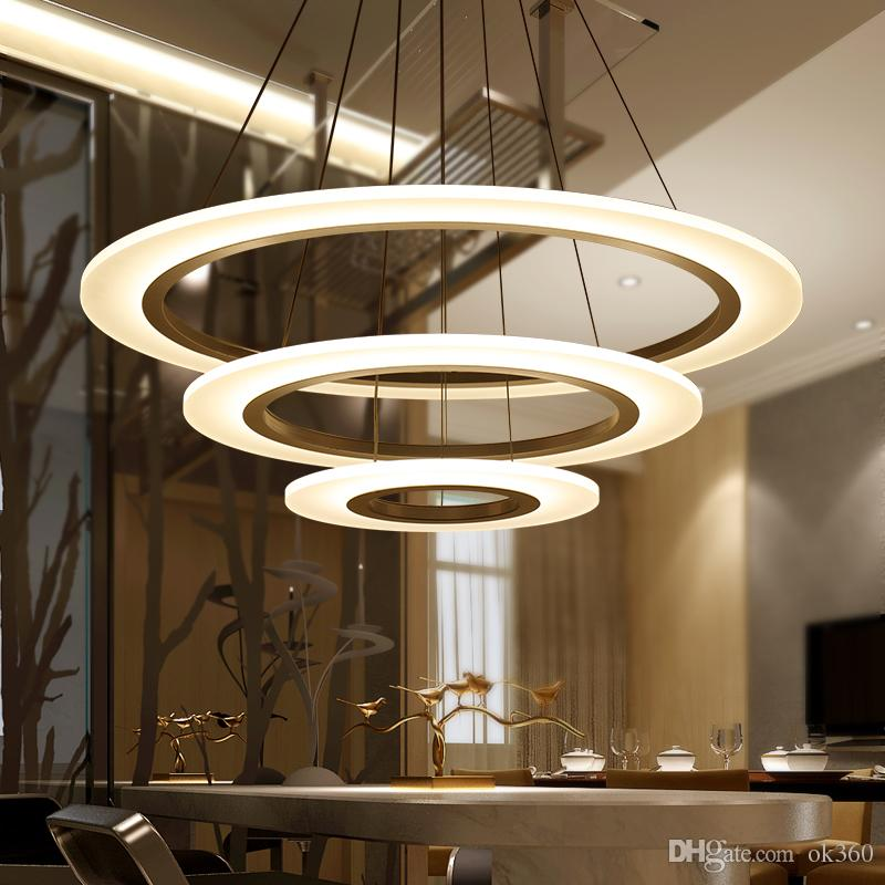 Luxury Modern Chandelier LED Circle Lights Round Acrylic Ring Lighting White Sliver 110V 220V Diameter High Quality Online With