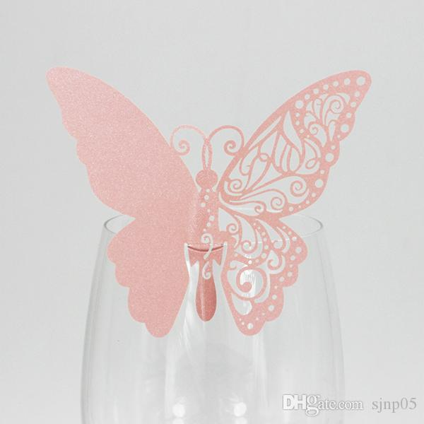 Laser Cut Table Paper Butterfly Place Escort Wine Glass Cup Paper Card for Wedding Party Home Decorations Colorful Place Cards Wholesale