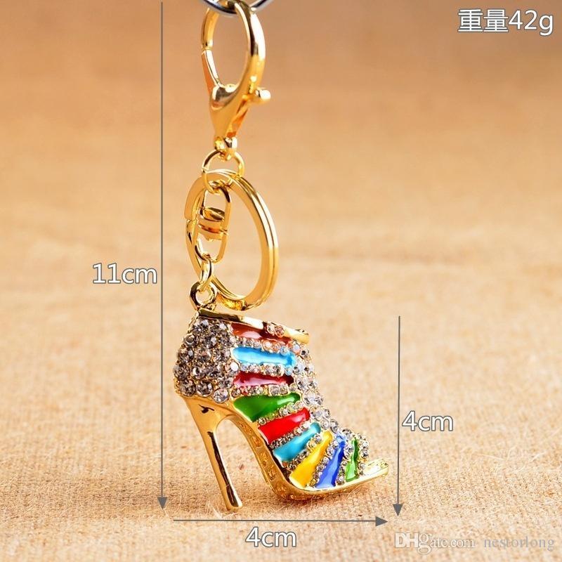 2016 vendita calda 1 pz cristallo scarpa tacco alto portachiavi strass borsa borsa ciondolo fascino portachiavi regalo