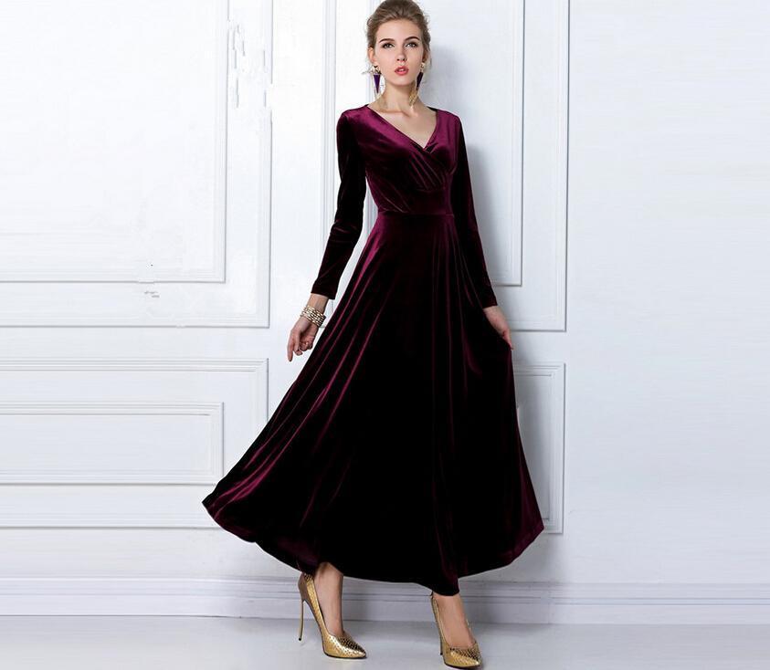 Long Sleeve Velvet Dress Plus Size Dresses Dragon Blog