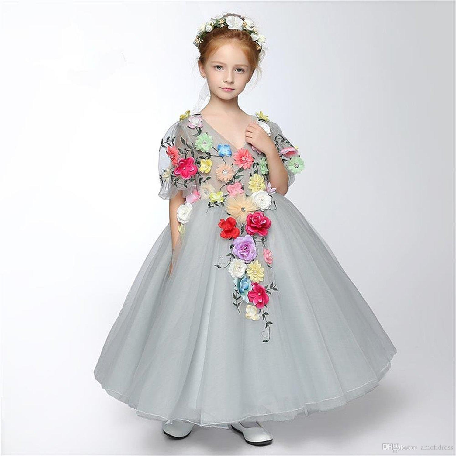 Cute Beautiful Grey Cinderella Princess Dresses Tiers Tulle Flower ...