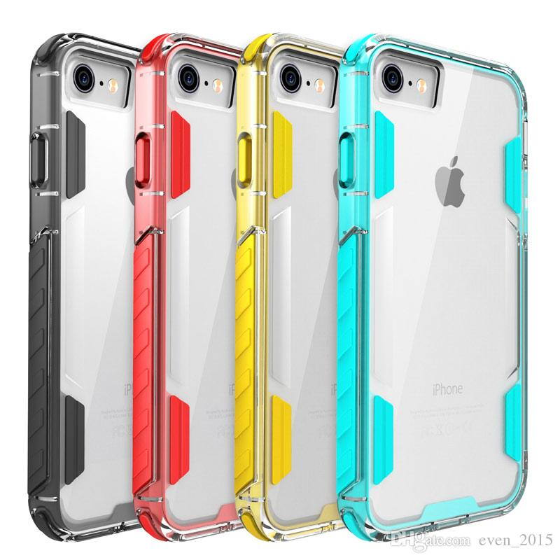 Colorful Bumper Frame Clear Case for iPhoneX for iPhone ten 7 7plus 2in1 Soft TPU + Hard PC Shockproof Cases by DHL