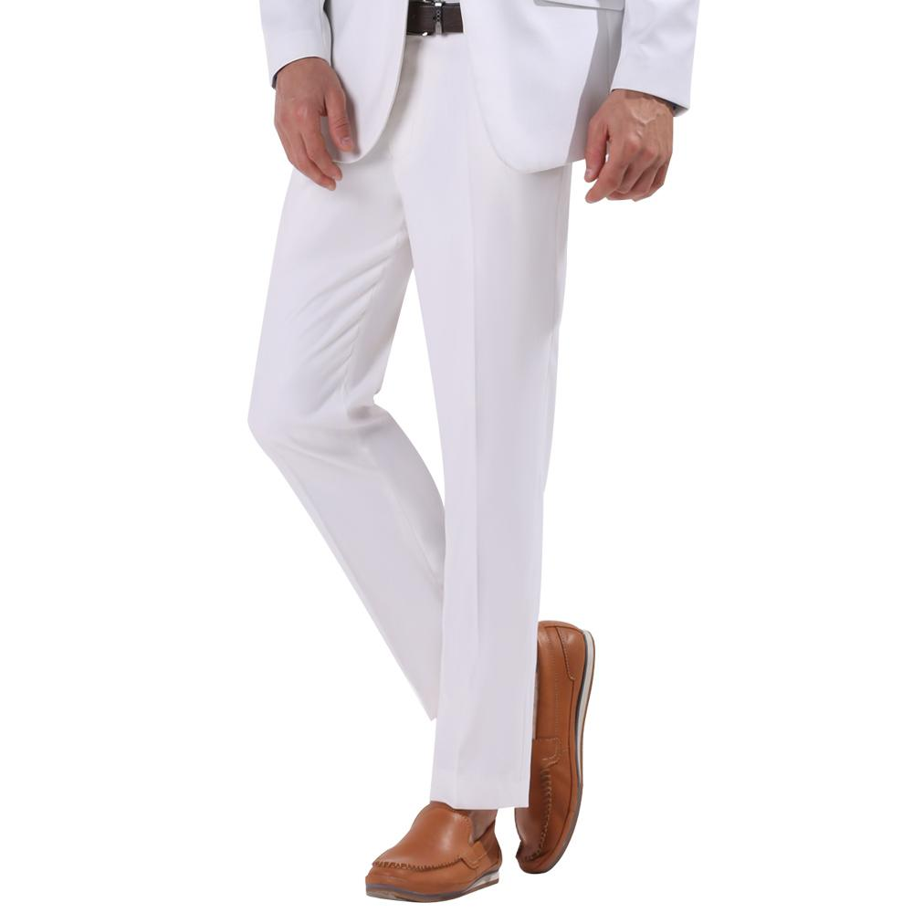 2017 White Color Men Slim Fit Suit Business Pants Gentleman Dress ...