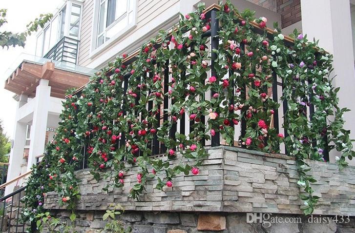 8.6FT 220CM Künstliche gefälschte Kunststoff Rose Silk Blume Girlande Efeu Blatt Reben Foliage Startseite Wand Party Decor Hochzeit Aufkleber pink