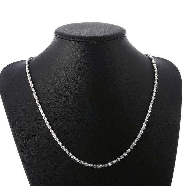 Nueva llegada Flash Cuerda torcida Collar de cuerda Hombres Sterling Silver Plate Necklace STSN067, Moda 925 Cadenas de plata Collar Fábrica Venta directa