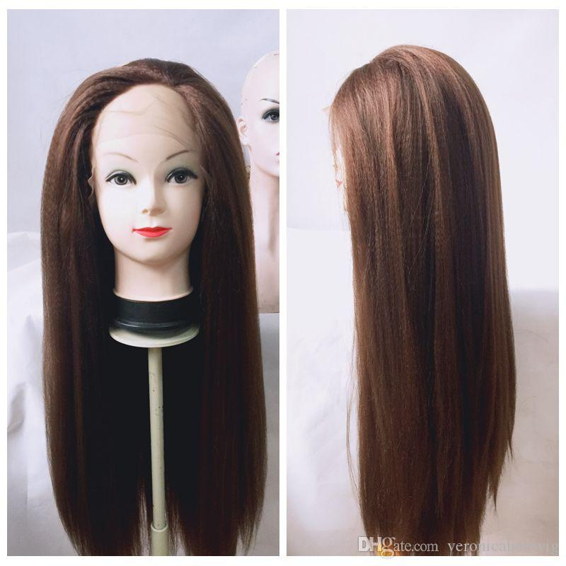 Full Lace synthetic wigs 6# Brown yaki kinky straight synthetic lace front wig for black wowen Heat Resistant Fiber Glueless Swiss Lace Wig
