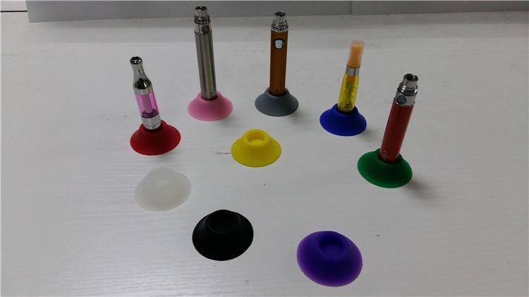 Ecig-Batterie-Silikon-Basis-Halter-bunte Silikon-Gel-Schale E-Cig-Sucker-Gummi-Kästen für E-Zigarette Ego Evod-Zerstäuber-Holding-Ausstellungsstände