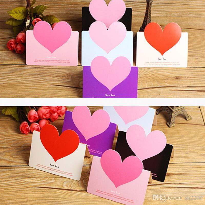 30 unids en Forma de Corazón Tarjetas de Felicitación de Cumpleaños Con Sobres Tarjetas Creativas Bendiciones Amor Corazón Boda Tarjetas de Felicitación Suministros de Escritura Papelaria