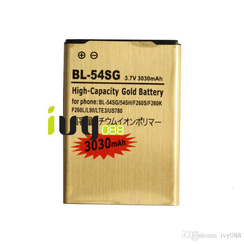 3030 mah bl-54sg bateria de substituição de ouro para lg optimus g2 54sh f260s f260l f260l lte3 US780 D800 F300 F320 / K / L / S F340L P698 LS980