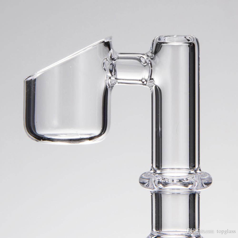 90 Grad Gerade Verbindungs Quarz-Banger-Art Domeless Nagel mit klaren männlichen und weiblichen Gelenk für Glasbongs dab Bohrinseln