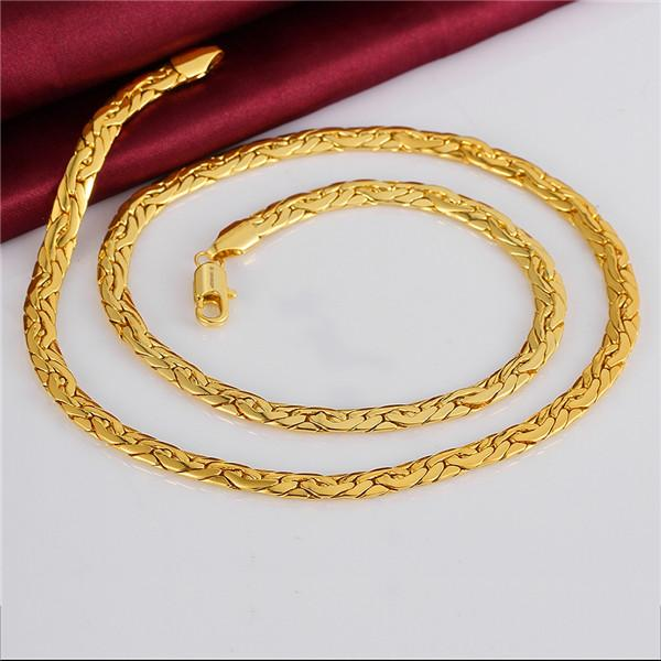 Christmas gift hot sale 24k 18k yellow gold 6M sideways necklace jewelry GN823 brand newfashion gemstone necklace