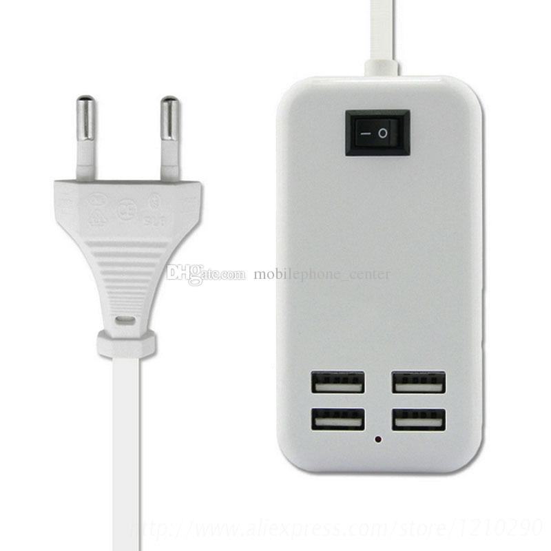 VOLL 15W 3A EU US Stecker 4 Port USB Ladegerät für Samsung iPhone Reiseadapter mit 1.5M Kabel Ladegerät gute Qualität