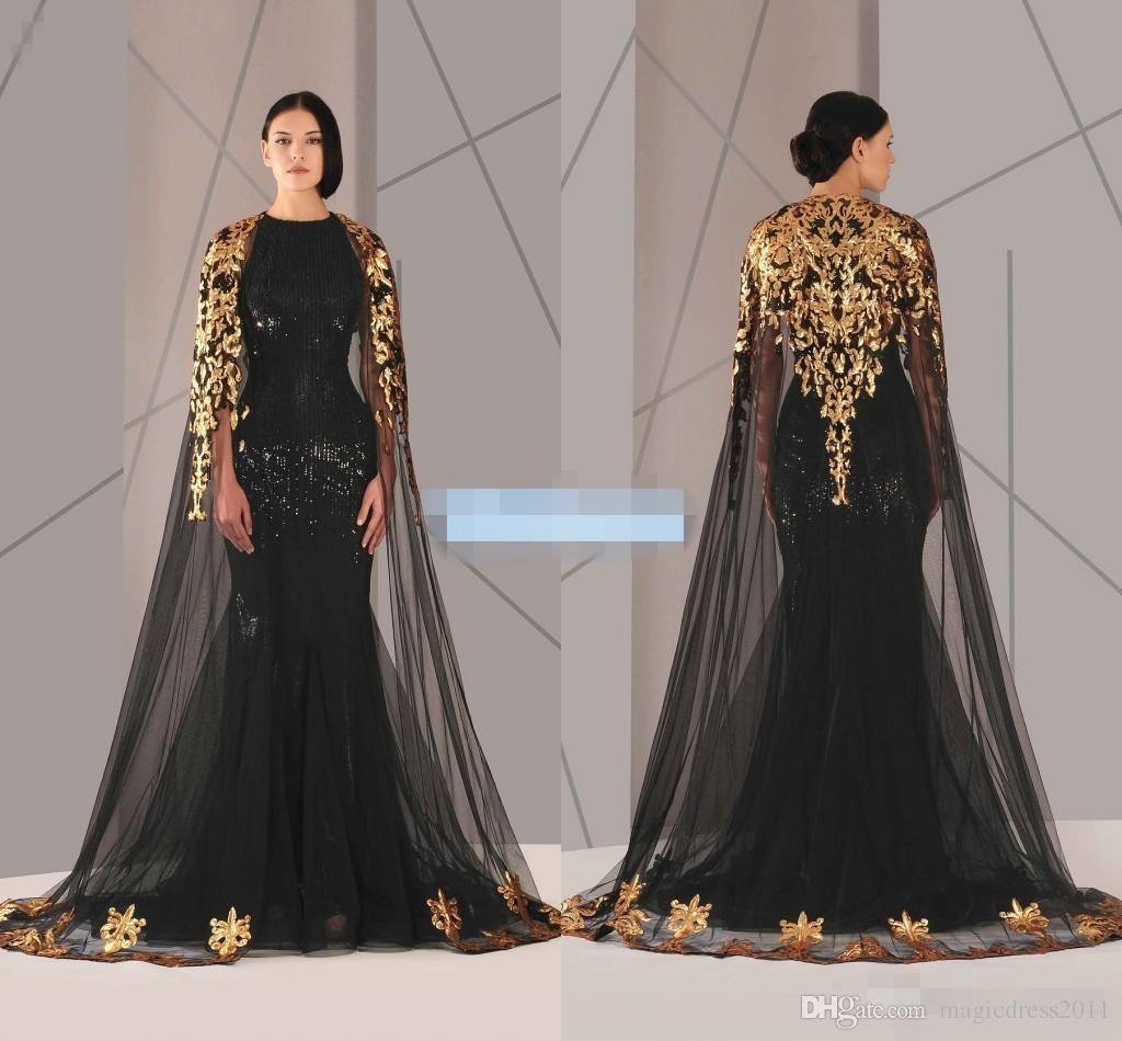 Vestidos de noche árabes negros musulmanes Capa de tul Lentejuelas doradas y negras Cuello redondo 2019 Tallas grandes Sirena Vestido formal Vestido largo de fiesta