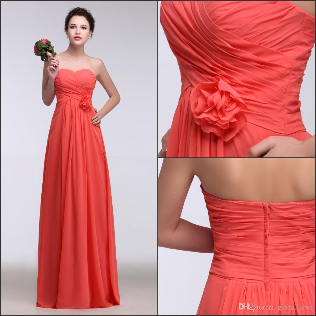 2017 real image bridesmaids formal dresses strapless water melon 2017 real image bridesmaids formal dresses strapless water melon fashion long bridesmaid dress with hand made flower wedding and bridesmaid dresses ombrellifo Gallery