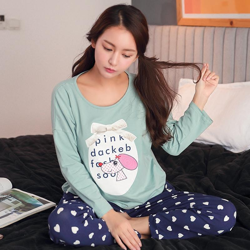 Wholesale- 2017 Fashion Womens Cotton Pyjamas Pjs Set Simple Pyjama ... b76f8ca54b