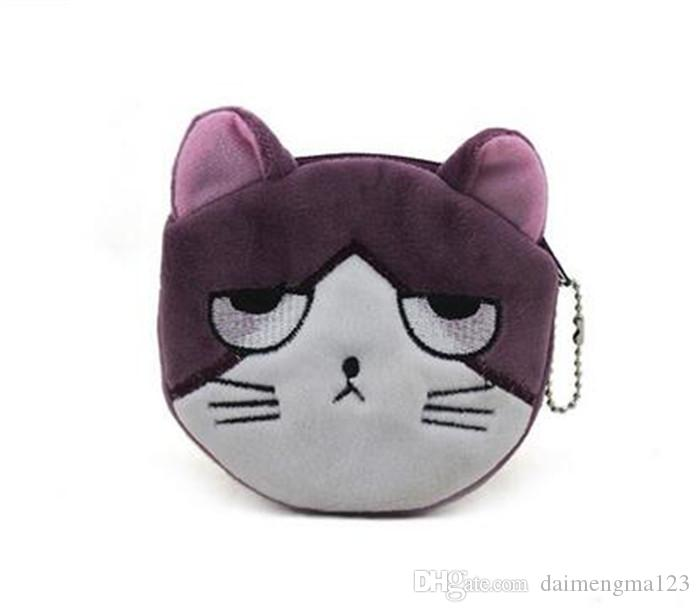 16 designs cartoon QQ expression cat girl Coin Purses cute emoji coin bag plush pendant smile wallet D731