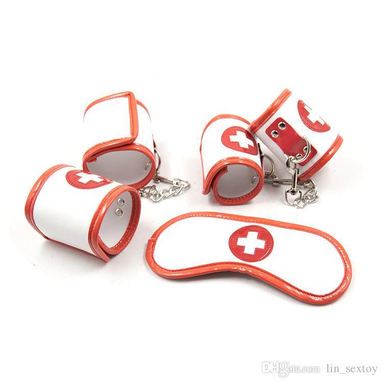 hot sale high quality Leather Nurse Handcuffs Mask Bondage Kit Bdsm Restraints Fetish Slave Game Cosplay Erotic Toys Adult