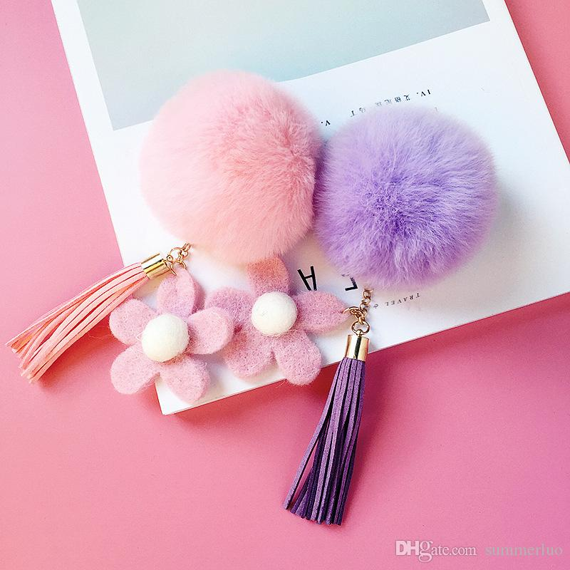 Keyring key ring Plush Sunflowers Lazy Rabbit Hair Ball Apple Cell Phone Case DIY Key Chain Material Package Accessories Tassel New SS0009