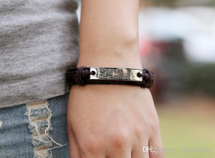 Mode Einfache Schrift Herren Armband Leder Legierung Handgemachte Retro Male Schmuck Charm Armbänder Weihnachten Party Geschenk