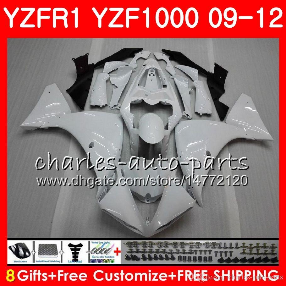 Bodywork For YAMAHA YZF 1000 R 1 YZF-1000 YZF-R1 09 12 Body 85NO22 YZF1000 YZFR1 09 10 11 12 YZF R1 Glossy white 2009 2010 2011 2012 Fairing