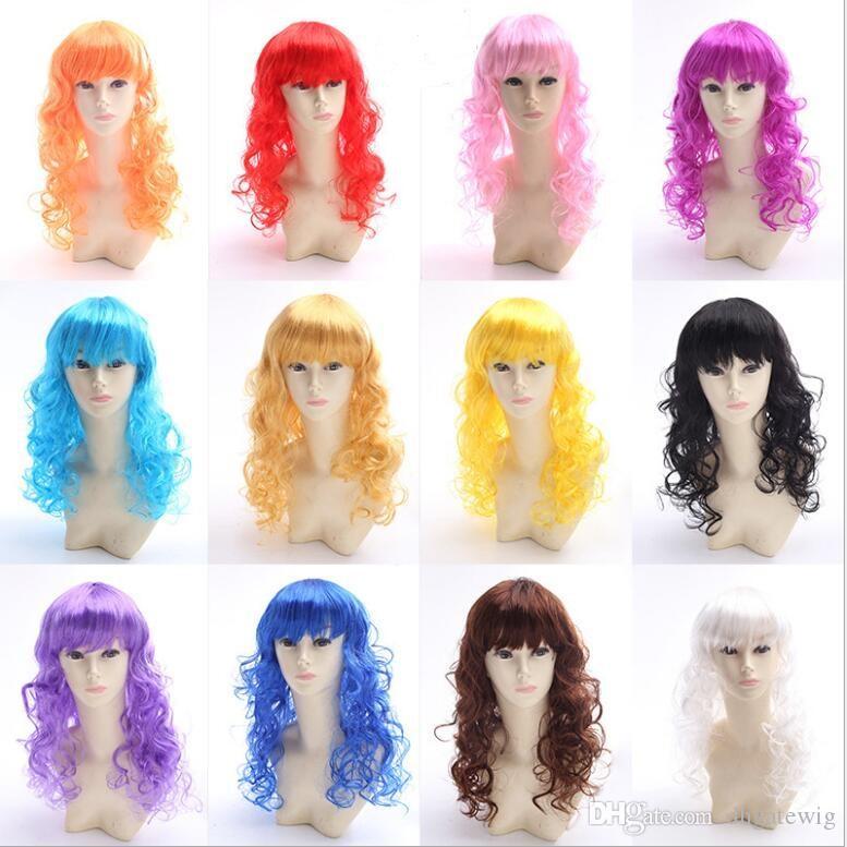 Art und Weisemädchenknallhaarperücke buntes Karikatur langes lockiges Haar-Rayonperückenscheide Party-Bar-nette Spitzefrontseiten-blonde Perücke knallt