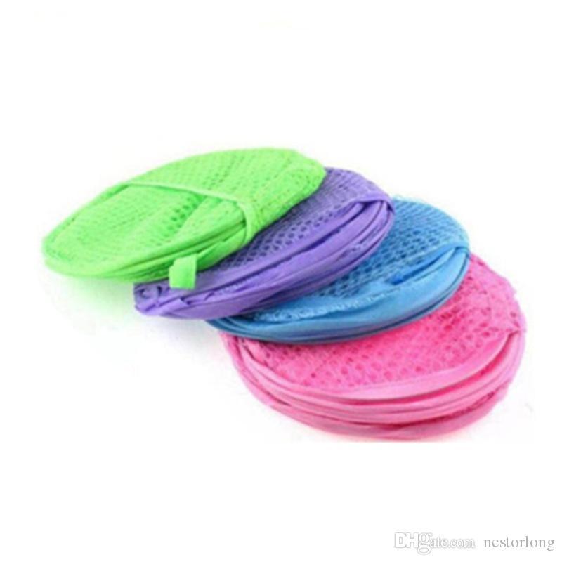 Random Color Nylon Mesh Fabric Foldable Large Laundry Basket Household Dirty Clothes Bag Washing Child Toy Storage Organization