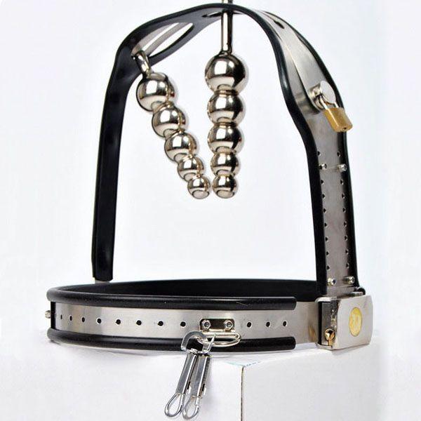 Hot fashion T-tipo cintura di castità femminile vagina + butt plug mutandine con spina anale bondage restrizioni fetish indossare in acciaio inox chastity