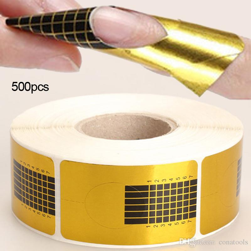 New 100Pcs 500Pcs/Roll Professional Golden Nail Forms Nail Art Tip Acrylic Curve UV Nails Gel Extension Guide Manicure Styling Sticker Tools