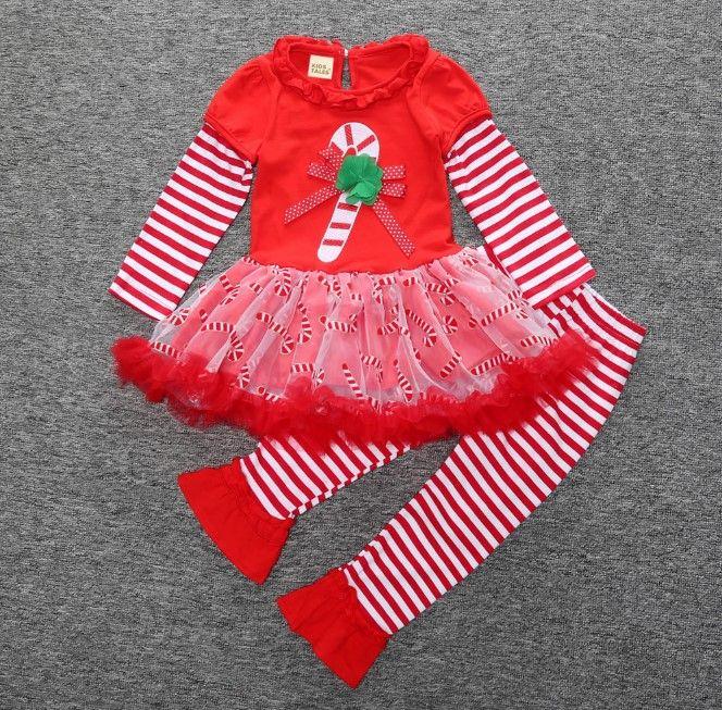 spring autumn girls Christmas tutu dress+pants kids sets children cotton suits baby sets skirts+leggings pack SDF006