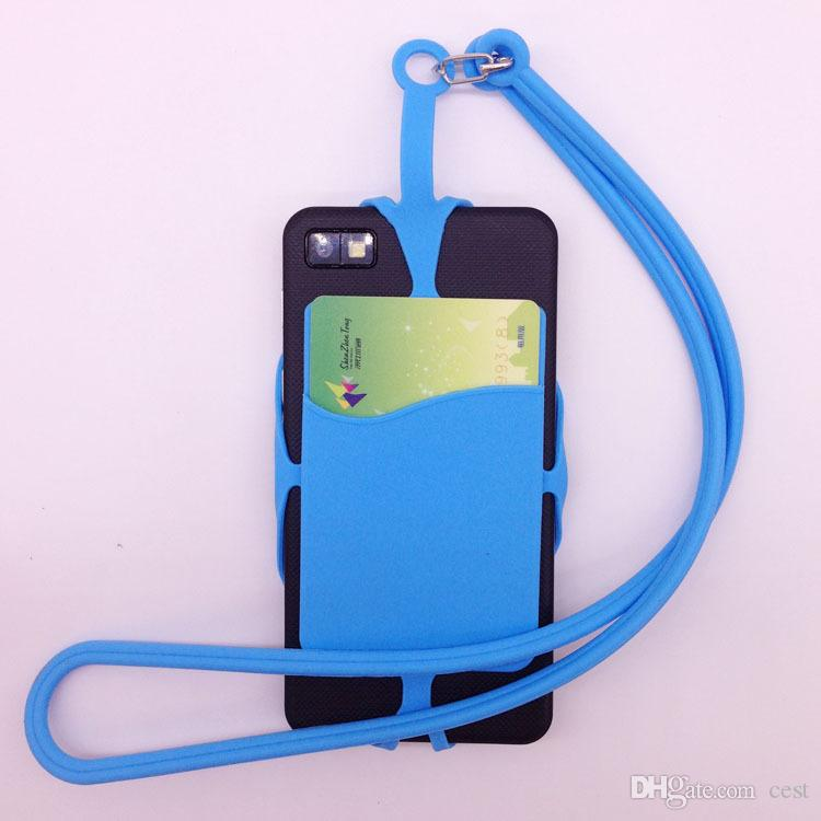 Universal mobile hybrid case soft Silicone case with long Lanyard strap pounch card holder for samsung black berry smart phone