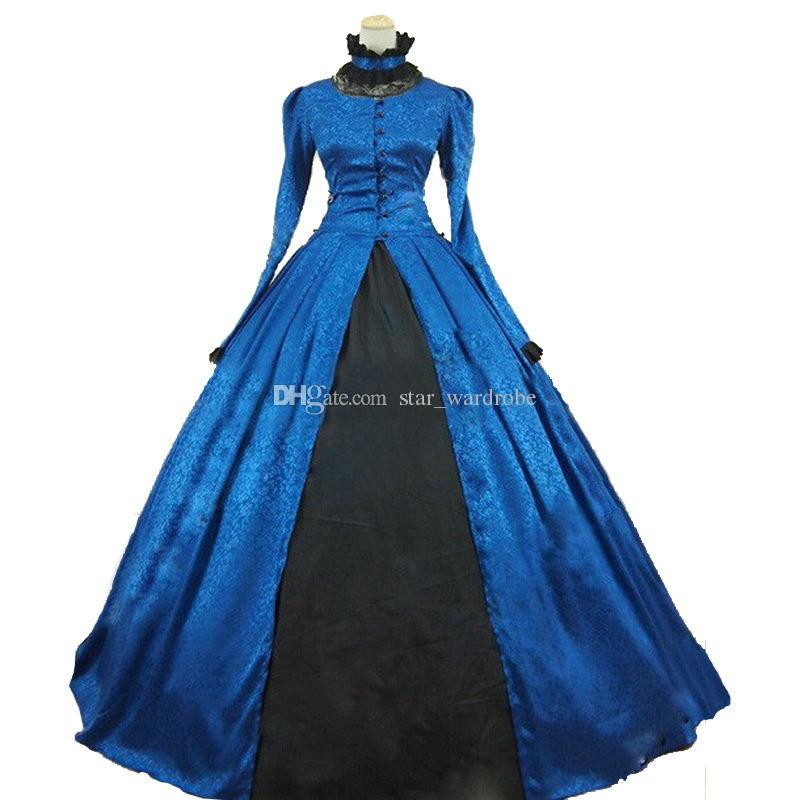 aa82c0a0316 2019 Elegant Blue Long Sleeves Renaissance Gothic Victorian Civil War Ball  Gowns Steampunk Theater Dress Clothing From Star wardrobe