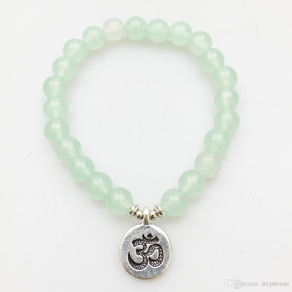 SN1140 Mode Bracelet Pour Femmes Amethyst Green Aventurine Rose Quartz Mala Bracelets Lotus Ohm Bouddha Bracelet Livraison Gratuite