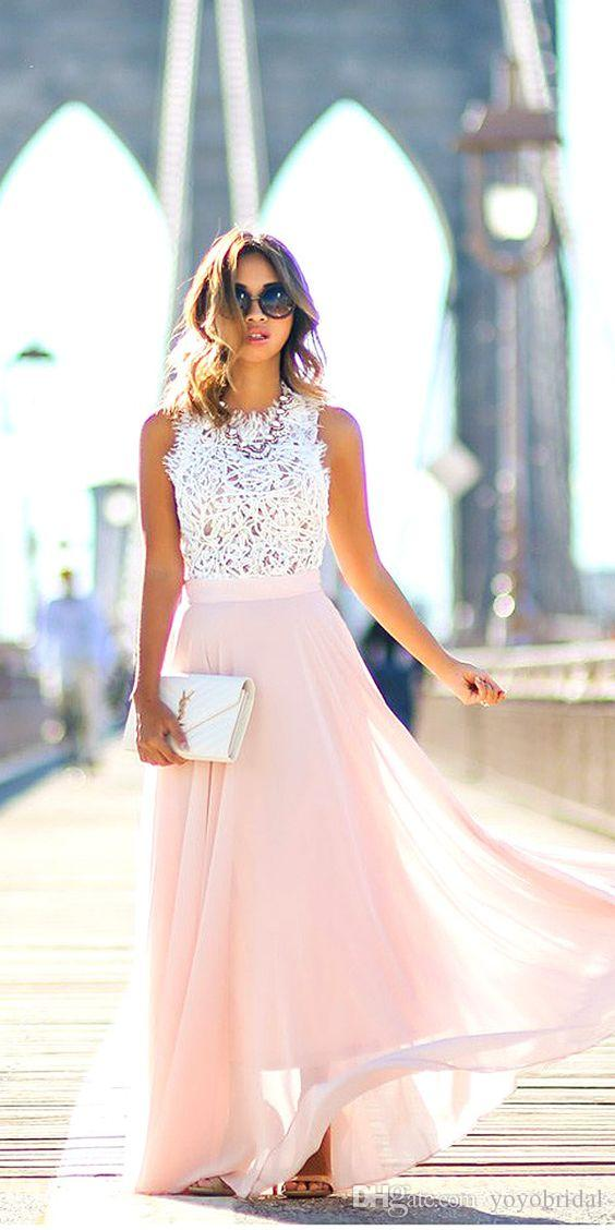 White lace pink chiffon bridesmaid dresses cheap long for Wedding guest dresses for 40 year olds