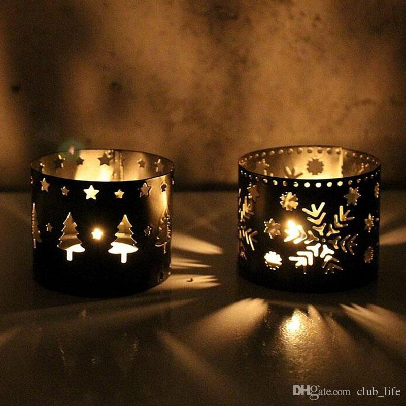 European Iron Hollow Out Black White Deer Candlestick Christmas Decoration Home Furnishing Candle Holders ZA5434