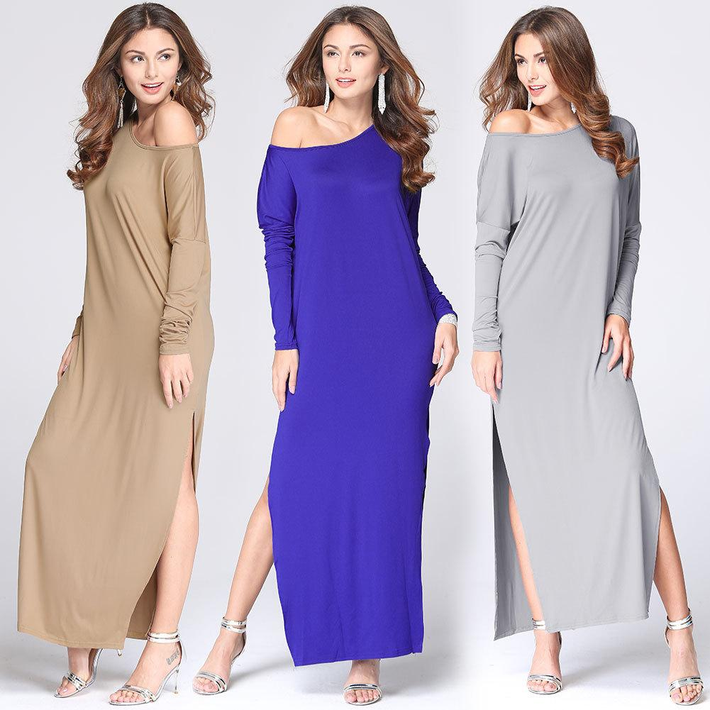 163765cf0ae8 One Shoulder Off Long Sleeve Women Dress 2016 Casual Solid Slit Empire  Loose Summer Dress Plus Size Cotton Ladies Vestidos Dress Of Women White  Lace Casual ...