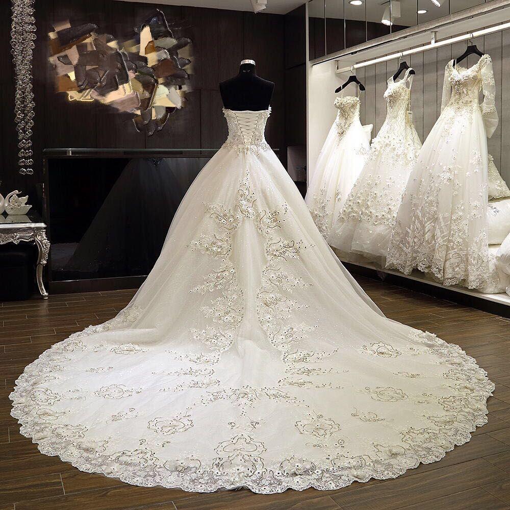 2019 Real Image Country Ivory Органза Кружева Аппликация Бальное платье Длинный поезд свадебные платья Свадебные платья с бисером