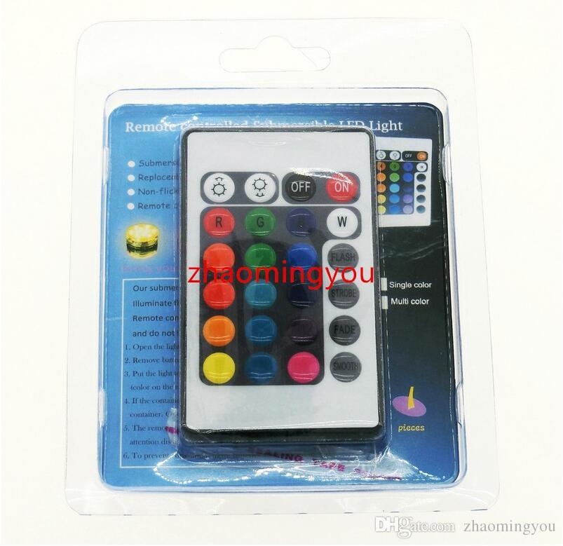 LED Dalgıç Işık Renk 24 Anahtar IR Uzaktan Kumanda ile Değiştirilebilir Coaster Su Geçirmez Kupası Mat.