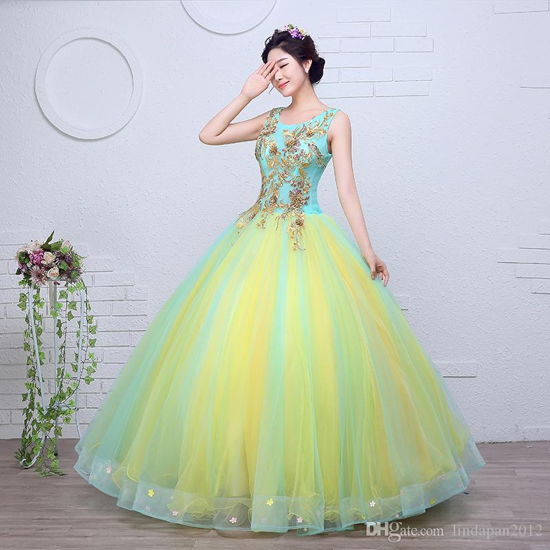 Gold Embroidery Organza Colored Wedding Dress 2017 New Korean Style ...