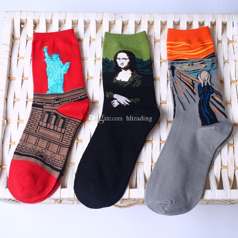 18 couleurs Art Style Chaussettes Femmes HOMME grands enfants peinture à l'huile En Coton Statue de la Liberté Mona Lisa Ciel Étoché Chaussettes Milieu tube chaussettes C2874