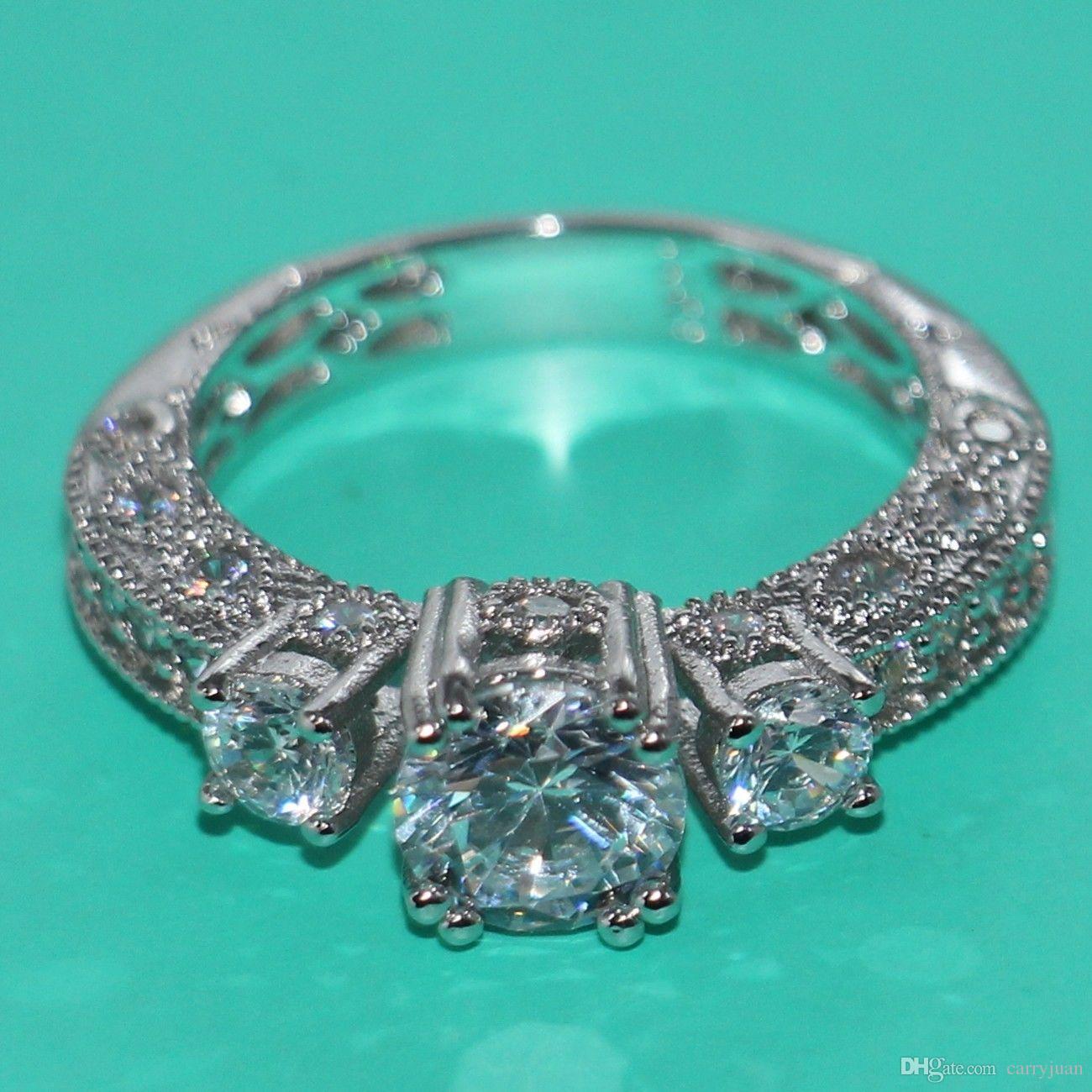 Victoria Wieck Trois Pierre Vintage Bijoux 10 kt or blanc rempli Topaz Simulé Diamant Mariage Anneaux Engagemet pour les femmes CADEAU Taille 5-11