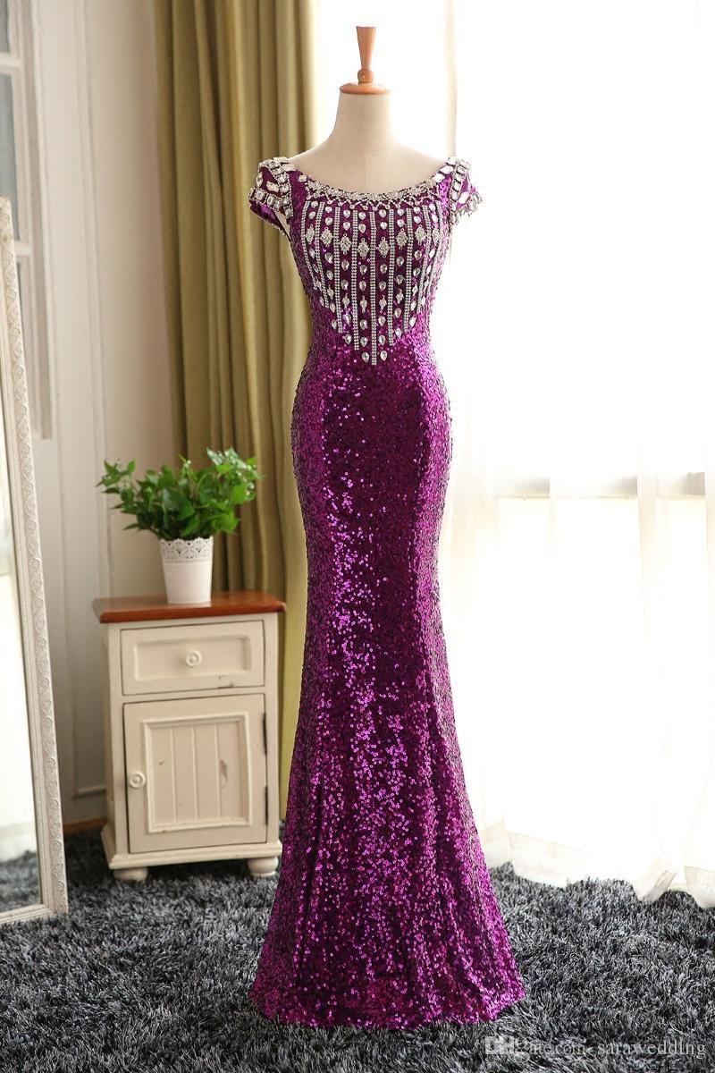 Purple Dentelle Paillettes Sirène Robes De Soirée 2018 Robe De Demoiselle D'honneur Manches Courtes Pour La Fête De Mariage À Lacets