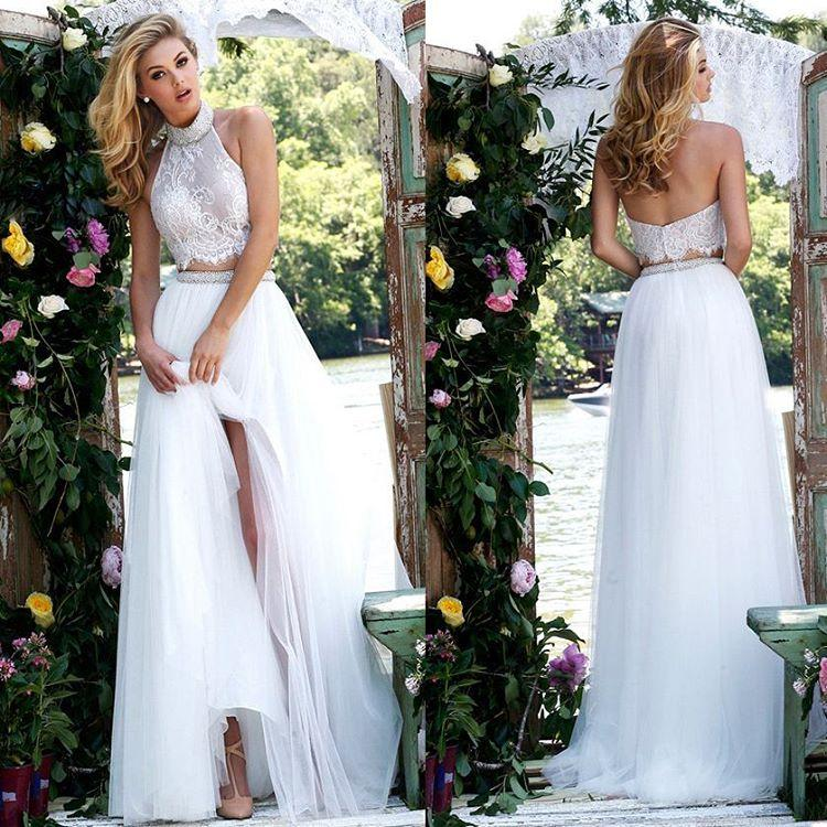Backless Wedding Gowns For Sale: Discount Boho Wedding Dresses Two Pieces Beaded High Neck