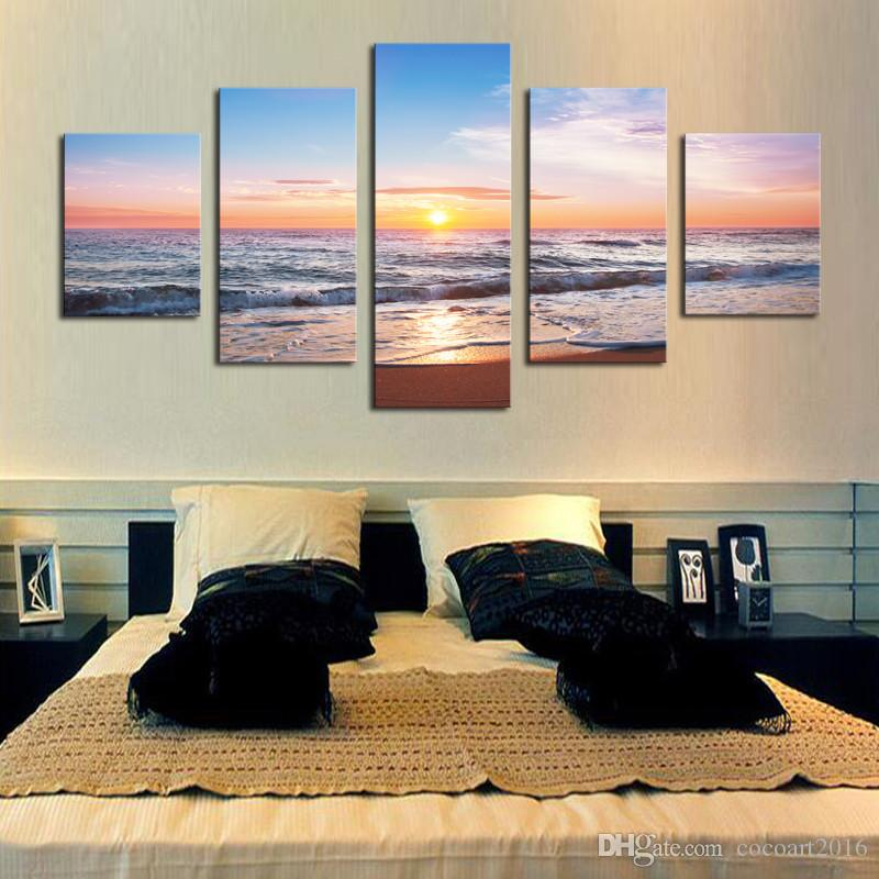 No Frame Sunset sea Modern Home Wall Decor Canvas Picture Art HD Print Painting On Canvas for Living Room