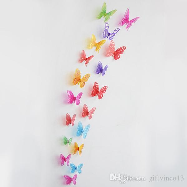 3D PVC Butterflies DIY Butterfly Art Decal Home Wedding Decor Wall Mural Stickers Children Bedroom Three-dimensional Removable Sticker